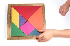 Tangram – Handmade Classic Wooden Puzzle This timeless toy mixes the beauty of shape with the cognitive function of puzzle. The seemingly simple task of putting all seven shapes back into the wooden,