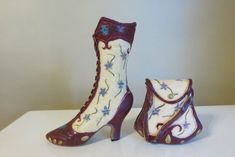 Collectible Victorian Boot Set with Purse Burgundy Blue Flowers Design Resin Victorian Boots, Blue Flowers, Flower Designs, Resin, Peep Toe, Burgundy, Booty, Purses, Heels