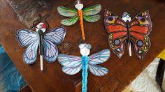Insecten knutselen met groep 5/6. Verzonnen en uitgewerkt door Mirjam. Een plastic lepel met daarop vleugels, lijf, ogen en voelsprieten van Papier.