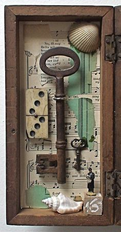 Shadow Box Assemblage Art - 'The Owl Sactuary' Shadow Box Kunst, Shadow Box Art, Shadow Box Table, Altered Boxes, Altered Art, Cles Antiques, Old Keys, Found Object Art, Junk Art