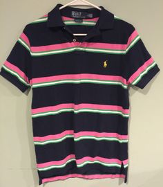 Polo by Ralph Lauren Blue Pink Green striped polo Custom Fit Men's S Small Pony #RalphLauren #Hawaiian