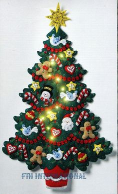 Details about Bucilla Merry & Bright Christmas Tree ~ Felt Wall Hanging Kit Real Lights Christmas Wall Hangings, Felt Christmas Decorations, Felt Christmas Ornaments, Christmas Wreaths, Christmas Crafts, Christmas Christmas, Diy Ornaments, Beaded Ornaments, Homemade Christmas