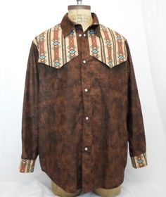 Vintage handmade Southwest Western shirt men's Large pearl snap buttons long sl