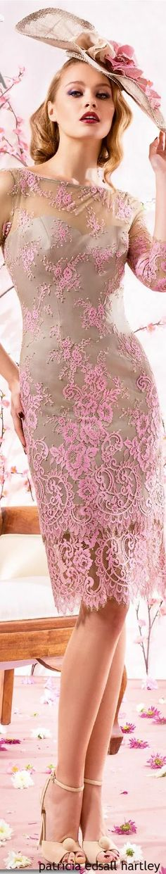 Mother of the bride formal dresses with delicately placed pink lace makes for a soft and feminine #fashion statement. We are in the USA and can recreate this look for you with ease.  To see more designs and for more info please go to www.dariuscordell.com/faq/