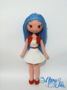 PATTERN - Blue-Haired Doll (crochet, amigurumi)