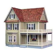 Show details for Real Good Toys Victoria's Farmhouse Wooden Dollhouse Kit Wooden Dollhouse Kits, Diy Dollhouse, Dollhouse Miniatures, Victorian Dollhouse, Modern Dollhouse, Interior Windows, Interior Trim, Interior Staircase, Interior Design