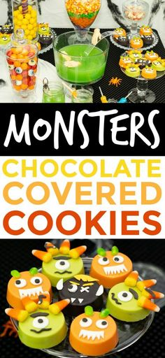 These Chocolate Covered Monster Cookies are super easy to make and take only a few ingredients. Chocolate Covered Oreos, Chocolate Cookies, Chocolate Recipes, Hot Chocolate, Plain Cookies, Monster Treats, Halloween Party Treats, Orange Candy, Halloween Chocolate