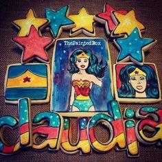 Wonder Woman By The Painted Box Superhero Cookies, Cartoon Cookie, Princess Cartoon, Decorated Cookies, Cookie Decorating, Wonder Woman, Box, Birthday, Inspiration