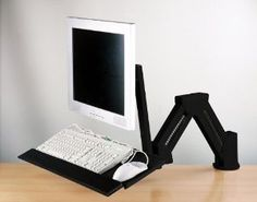 Amazon.com: LCD Monitor/Keyboard Extension Stand Wall Mount/Desktop Clamp Black: Computers & Accessories