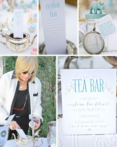 Loose Tea Bar...this would be a cute way to do the tea party bridal shower...everyone gets their own tea strainer and tea cup as a party favor they also use at the party :)