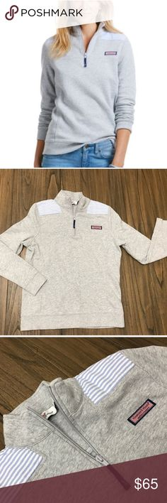 Vineyard Vines Oxford Stripe Gray Shep Shirt XS Adorable and perfectly prep! Size XS Shep from Fall 2016 line. Gray with blue and white Oxford striped shoulders. Minor pilling from wash; line/air dried. Vineyard Vines Tops
