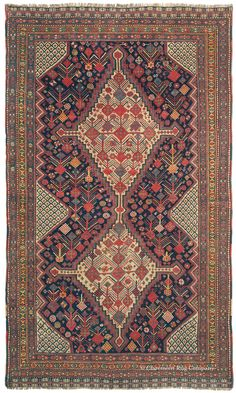 Persian Qashqai rug, 4ft 7in x 7ft 8in, 3rd Quarter  19th Century