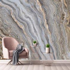 Custom Wallpaper Mural Golden Marble Effect Wallcovering (㎡)