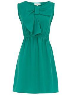 Teal bow dress.