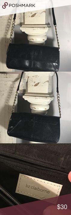 dc084b77d9 Liz Claiborne Evening Bag Elegant black leather evening bag with gold chain  hardware. Snap closure