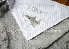 Personalized baby Blanket- white and silver grey shark- 30x35 baby stroller blanket