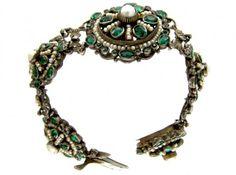 Austro- Hungarian Silver & Garnet Doublet & Pearl Bracelet, Victorian