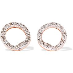 Monica Vinader Riva Circle rose gold vermeil diamond earrings (€180) ❤ liked on Polyvore featuring jewelry, earrings, flat round earrings, rose jewellery, diamond jewelry, round diamond earrings and druzy jewelry