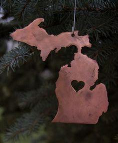 """MI SWAP Idea """"Love Michigan"""" ornament in copper ~ Michigan in Metal Michigan Travel, Lake Michigan, Seasonal Decor, Holiday Decor, Northern Michigan, Christmas Decorations, Christmas Ornaments, Christmas Love, Great Lakes"""