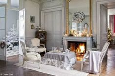 My French Country Home, French Living - Sharon Santoni. Cream and soft grey pastel rug. French Christmas Decor, Elegant Christmas Decor, French Decor, French Country Decorating, Christmas Decorations, Christmas Décor, Modern Christmas, Outdoor Christmas, Christmas Crafts