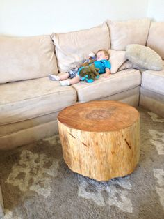 DIY Tree Trunk Table (it would be cute to wood burn or carve initials somewhere on it)