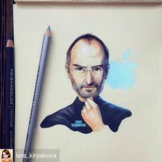 "37 Likes, 1 Comments - BeingArtistic (@beingartistico) on Instagram: ""@Regrann from @lera_kiryakova -beingartistic - #regrann  #stevejobs #pen #pencil #sketch #colour…"""