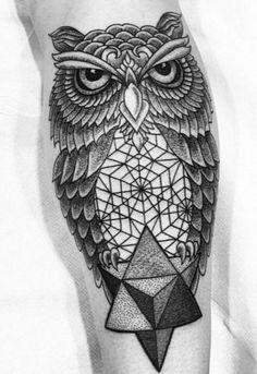 Melow Perez    #tattoos #sacredgeometry #linework #owl