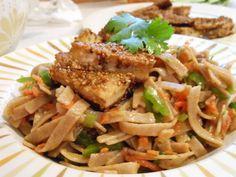 All-American Vegetarian: Asian Noodle Salad with Sesame Tofu Bites