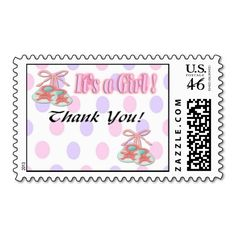 Our Thank You Baby Girl Shower postage stamp features pink and purple polka dot background, with pink and green baby booties. It the perfect finishing touch to your baby shower Thank You cards.