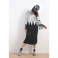Korean Zig Zag Silver Foil Print Oversized Dress