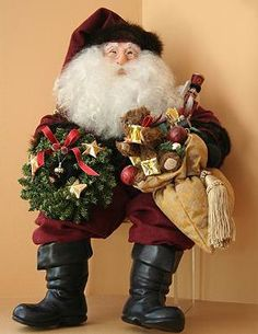 The Traditional Old World Santa Figure sits comfortably on anything from a mantle to a shelf and adds holiday cheer to your home.
