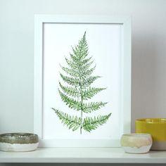 Woodland Fern Leaf Botanical Watercolour Art Print