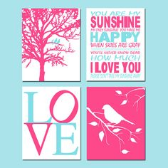 Baby Girl Nursery Art  Set of Four 8x10 Prints  You Are by Tessyla, $65.00