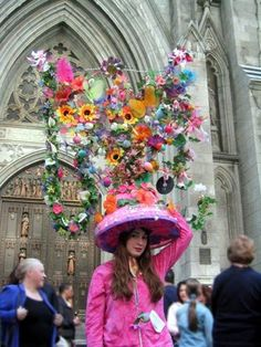 Girl in Extravagant Easter Bonnet in front of St. Patrick's Cathedral
