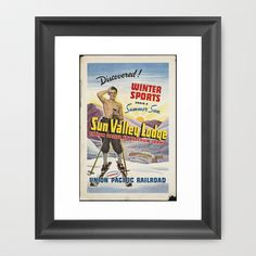 SKIING Framed Art Print by Kathead Tarot - $36.00