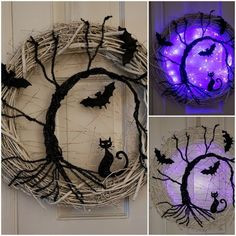 Halloween is getting closer. Are you ready for Halloween decorations? If not, look at the DIY Halloween wreath project I prepared for you today. If you want to find some fun and economical Halloween decorations for your home. These DIY Halloween wrea Manualidades Halloween, Adornos Halloween, Fröhliches Halloween, Holidays Halloween, Outdoor Halloween, Halloween Fireplace, Halloween Stencils, Halloween Tricks, Gothic Halloween