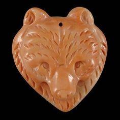 BG17635# Natural Hand Carved Bear animal Red Malachite Gemstone Pendant Bead #Handmade #Pendant