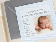 Oh So Beautiful Paper: Fletcher's Simple and Scented Birth Announcements