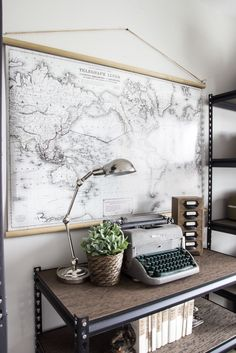 DIY Vintage Pull Down Map | blesserhouse.com - Great cheap alternative to the real deal! So easy!