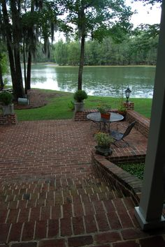 Beautiful genuine handmade brick steps to lake in Albany, GA