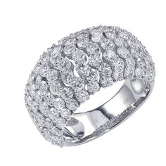 This cocktail ring is made for ladies with 14k white gold with round diamonds.This Beautiful ring is really amazing for its sparkling diamonds set in prong setting in wave style. This ring gives stunning look in the party.