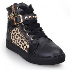Rivet Leopard Fashion Sneakers
