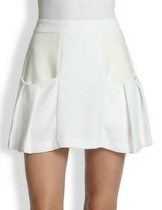 ALICE + OLIVIA Linder Mixed-Media Pleat Skirt