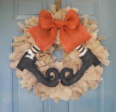 Burlap Halloween Wreath  with Primitive Witch by RedRobynLane