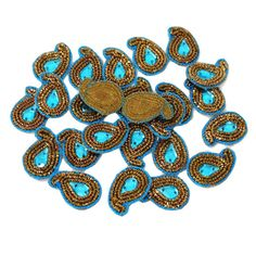 FREE SHIPPING Crafting Beaded Applique Metallic Braid Paisley Design Sewing Dress Patch 22 Pcs - AP287