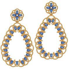 Brinco semi joia com banho de ouro 18k, quartzo azul e detalhe em zircônia branca.