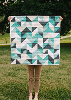 Baby Quilt HalfTriangles Aqua Cream Gray Unisex by whitneydeal