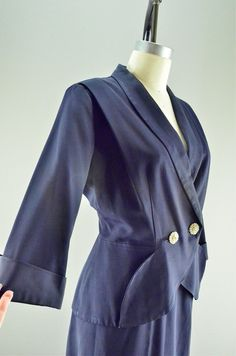 1940s suit / Vintage 40s suit / Navy blue suit / by melsvanity, $56.00