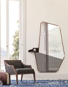Ops is available as a wall or floor mirror. The frame is done in solid canaletta walnut with details in natural maple. The floor mirror has the upper section in clear mirror while the bottom section in smoked mirror. Mirror Panels, Floor Mirror, Wall Mirror, European Furniture, Contemporary Furniture, Marble Furniture, Mirror Furniture, Beauty Room Decor, Aesthetic Room Decor
