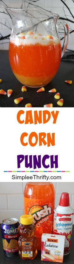 Perfect for Fall or Halloween: Layered Candy Corn Punch recipe! Kid or adult friendly. Goes great with any Fall or Halloween party theme. Very simple and fun to make!